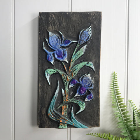 Mid Century Ceramic Flowers Wall Plaque #1