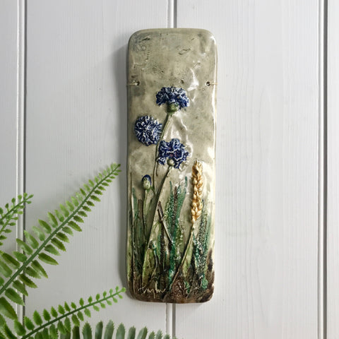 Mid Century Ceramic 'Field of Flowers' Wall Plaque #3