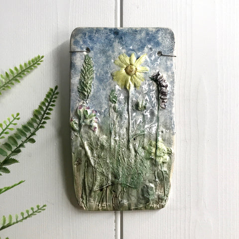 Mid Century Ceramic 'Wild Flowers' Wall Plaque #4