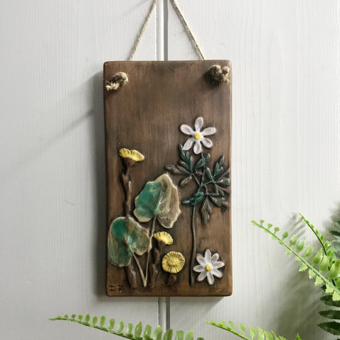 Mid Century Ceramic 'Flowers' Wall Plaque #6