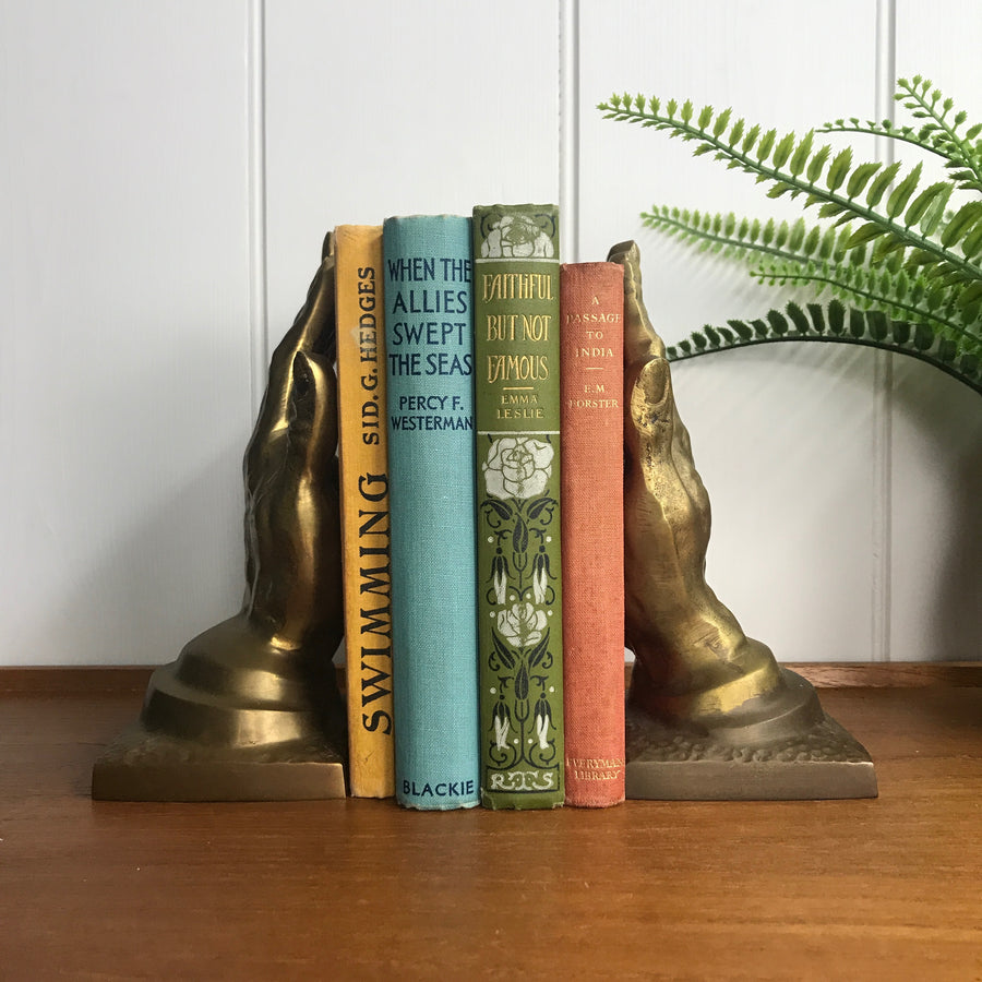 Mid Century Brass Hands Bookends