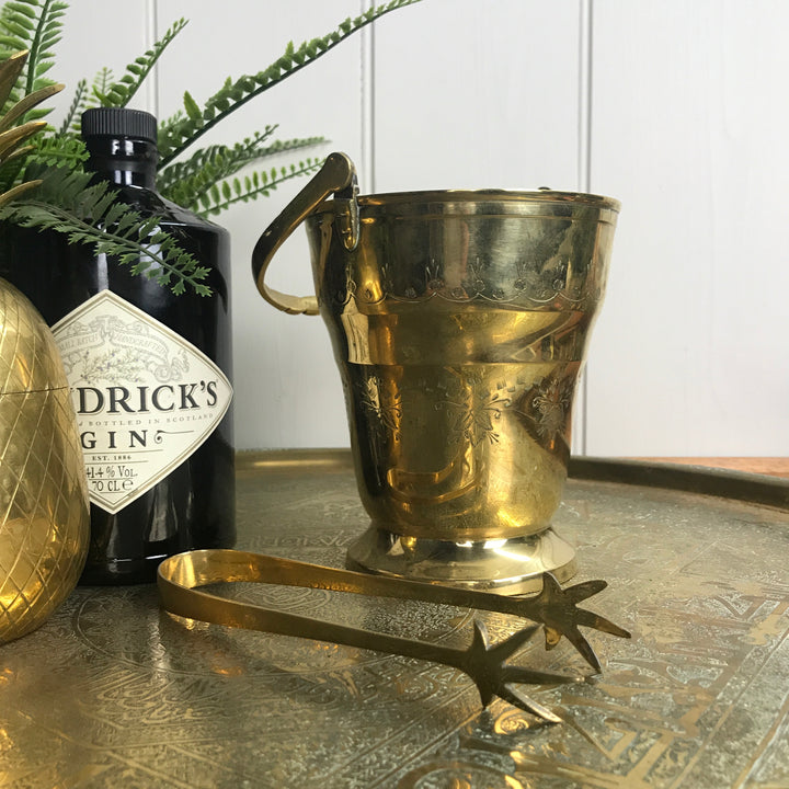 Vintage Brass Ice Bucket & Tongs Set #2