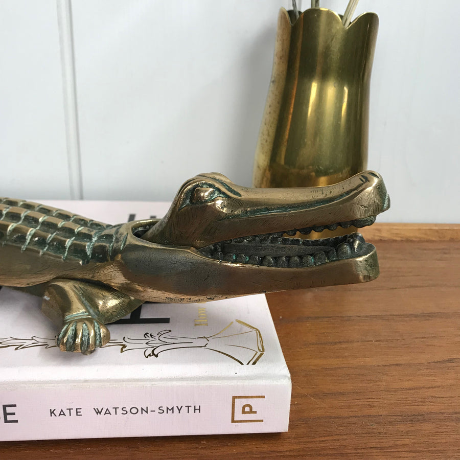 Large Vintage Brass Crocodile Nut Cracker #A1