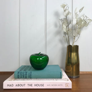 Mid Century Green Glass Apple Paperweight/Ornament