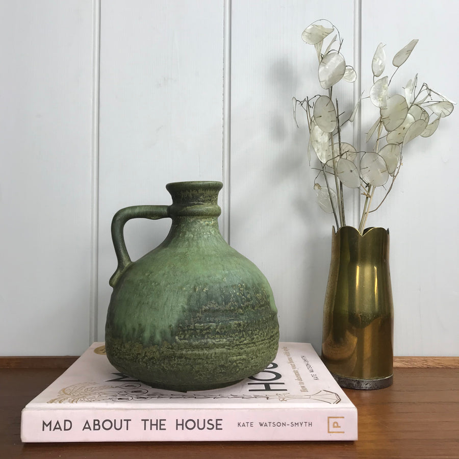 Mid Century West German Green Ceramic Vase