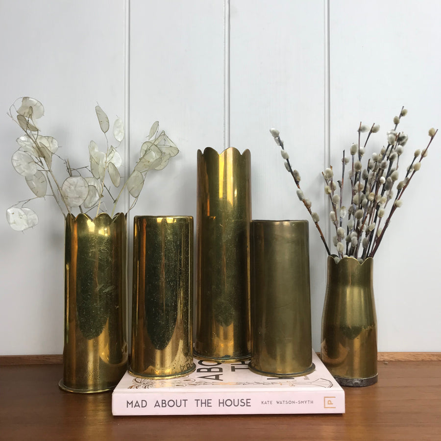 Vintage Brass Trench Art Shell Vase #A1