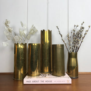 Vintage Brass Trench Art Shell Vase #A2