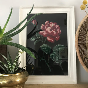 Vintage Framed Embroidery 'Rose'