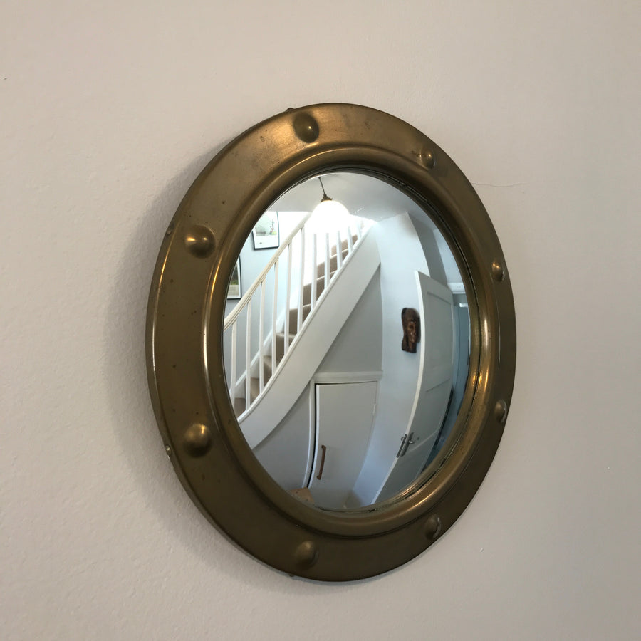 Vintage Brass Convex Porthole Mirror - Small