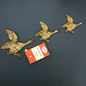 *EXTRA LARGE* Trio of Vintage Brass Flying Ducks