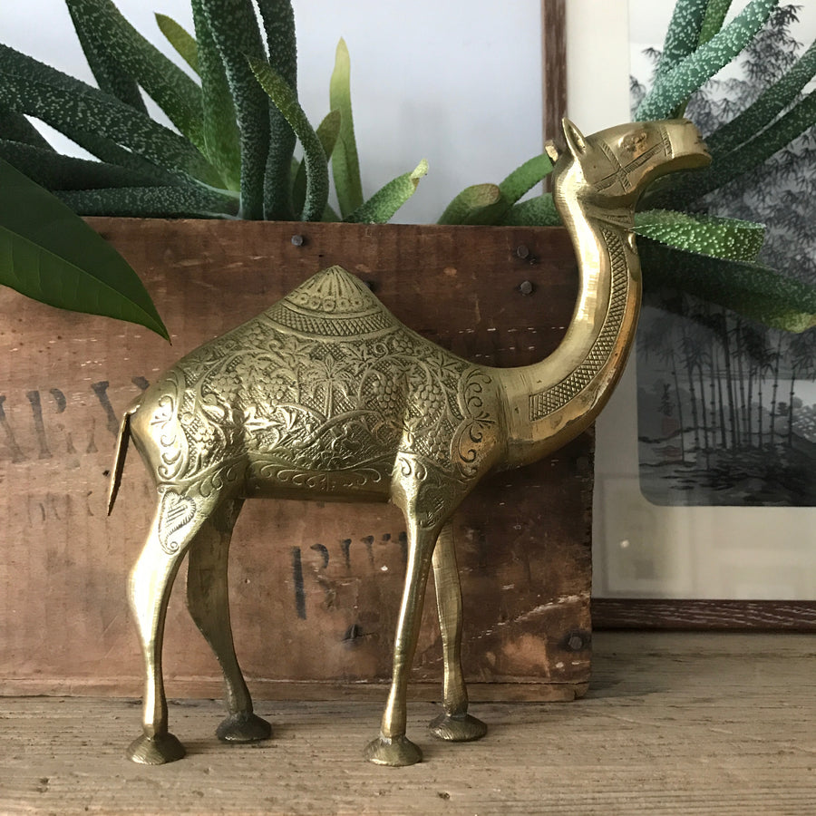 Mid Century Brass Camel - palm tree detail