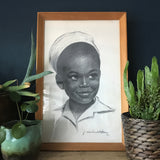 Vintage 1960s Framed & Signed Charcoal Print