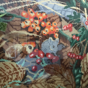 Mid Century Woodland Framed Needlework