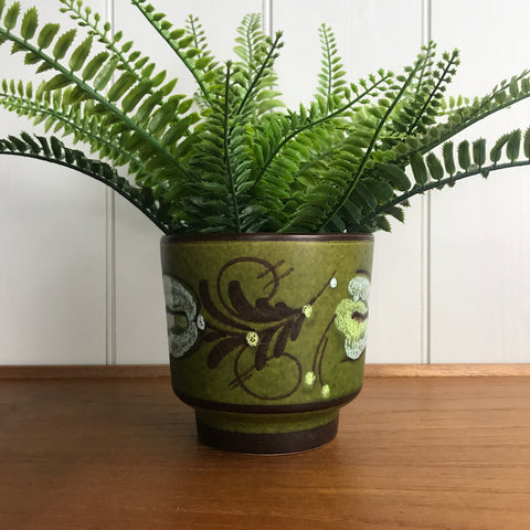 Mid Century Green Ceramic Planter