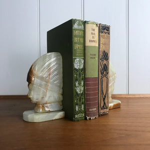Mid Century Natural Onyx 'Native American Indian' Bookends