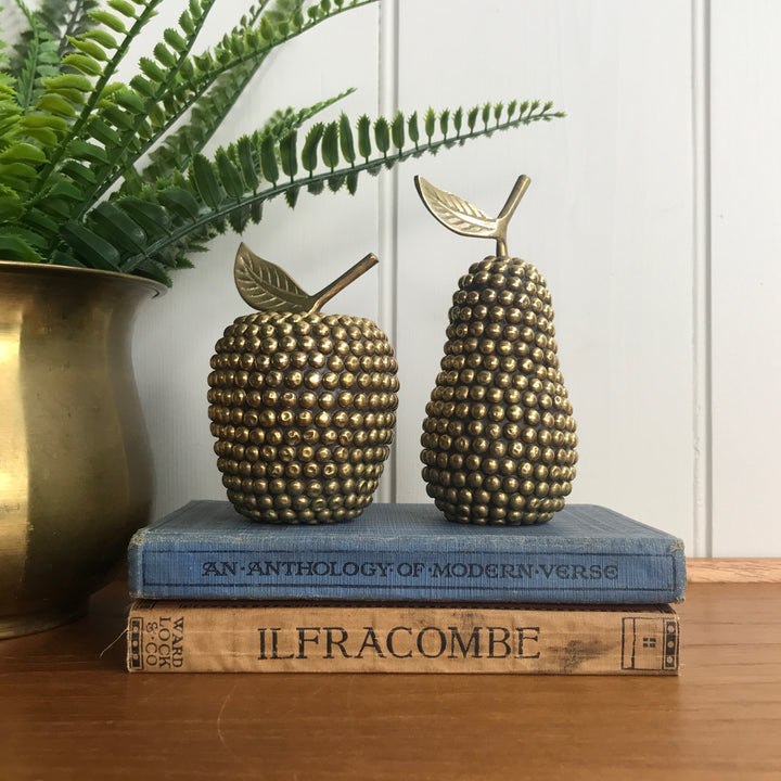Vintage Studded Brass Apple & Pear