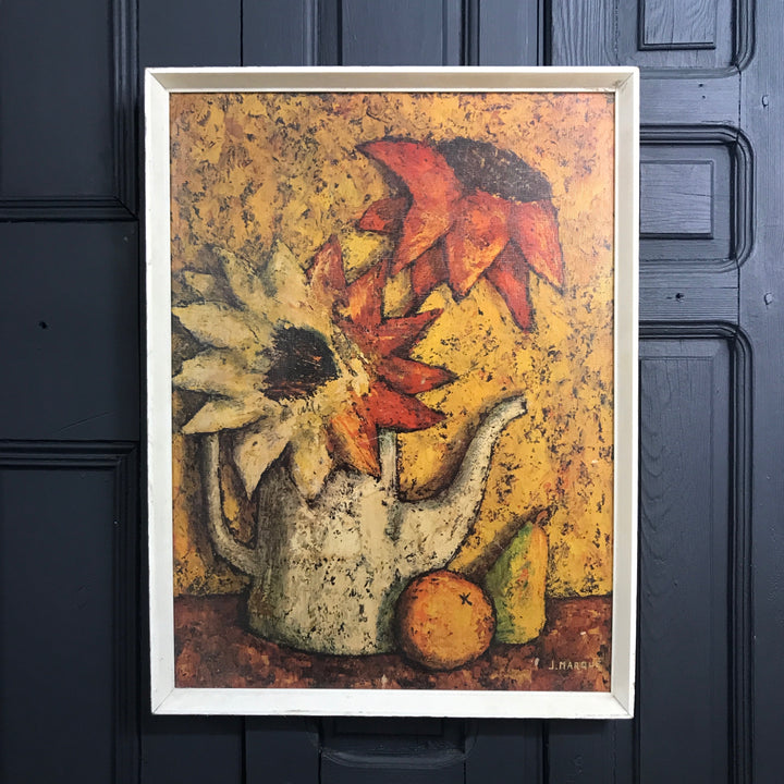 Mid Century French Still Life 'Sunflowers' Framed Print