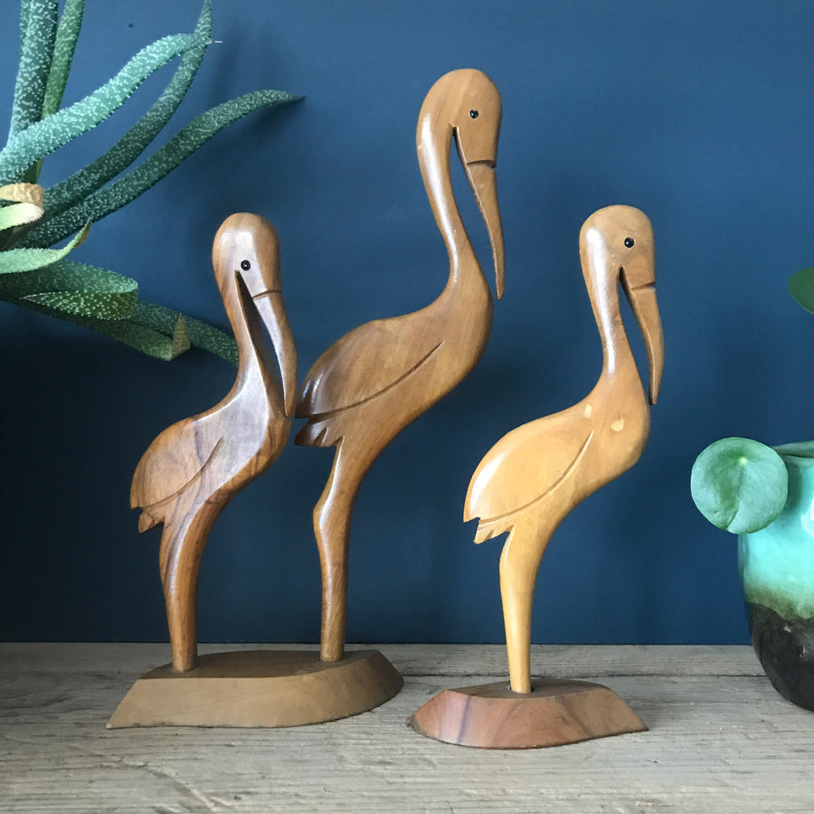 Trio of Mid Century Wooden Carved Flamingos