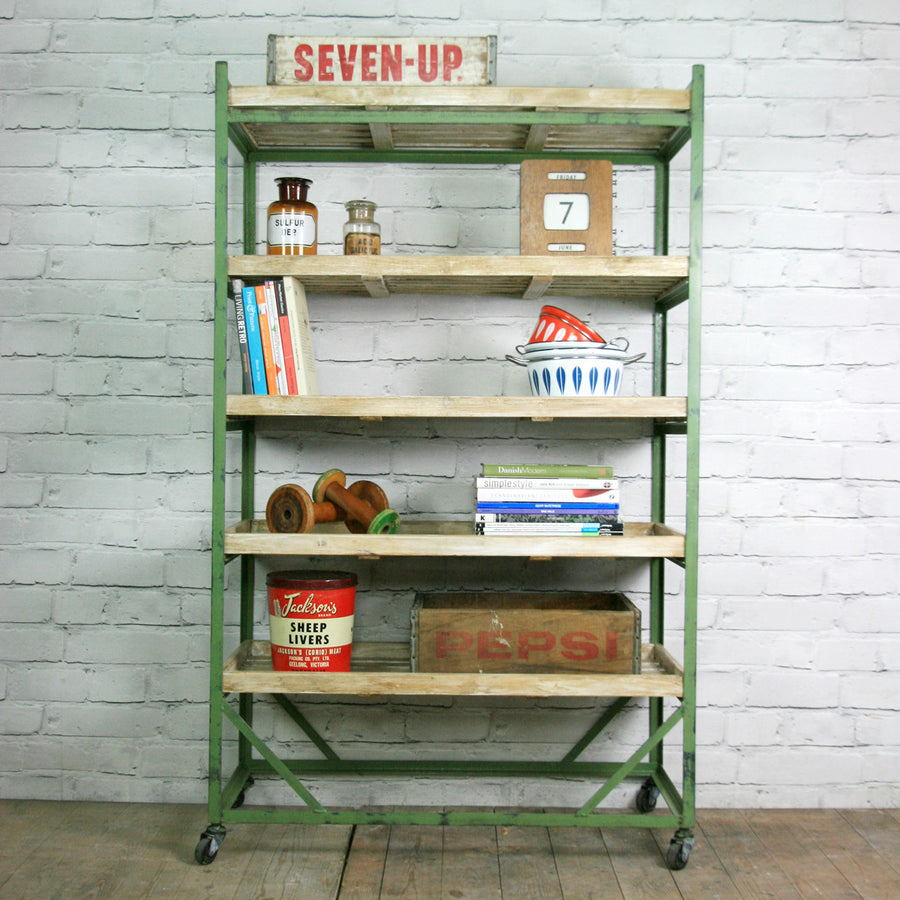 Industrial factory shoe rack/trolley - green