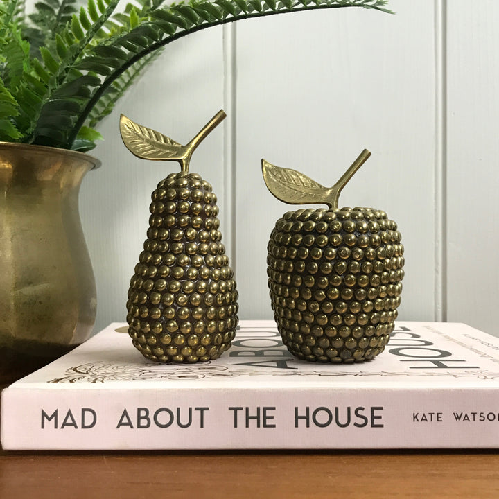 Vintage Studded Brass Apple & Pear #A1