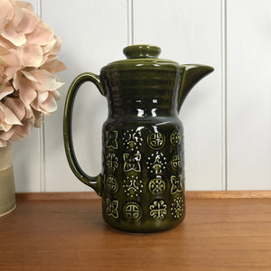 Mid Century Moss Green Coffee Pot