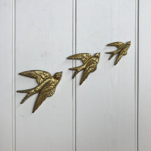 Brass Mid Century Flying Swallows #SET3