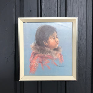 Vintage 'Thinking Child' Framed Print #3