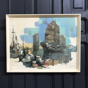 Mid Century Framed Print 'The Harbour'