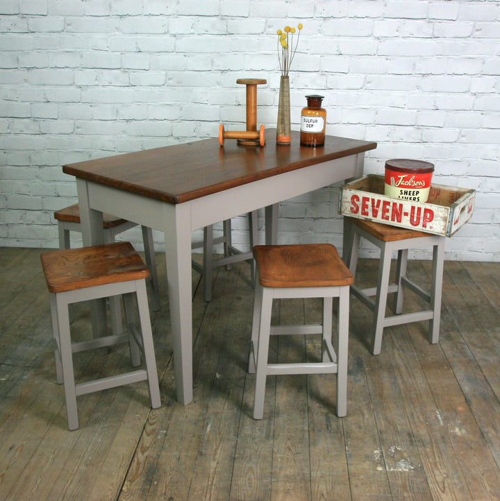 Vintage painted school laboratory table & 6 stools