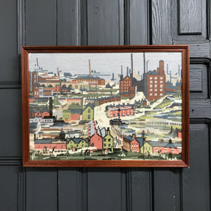 Mid Century L.S.Lowry Needlework Framed
