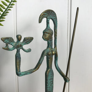 Mid Century Bronze Warrior Woman Ornament