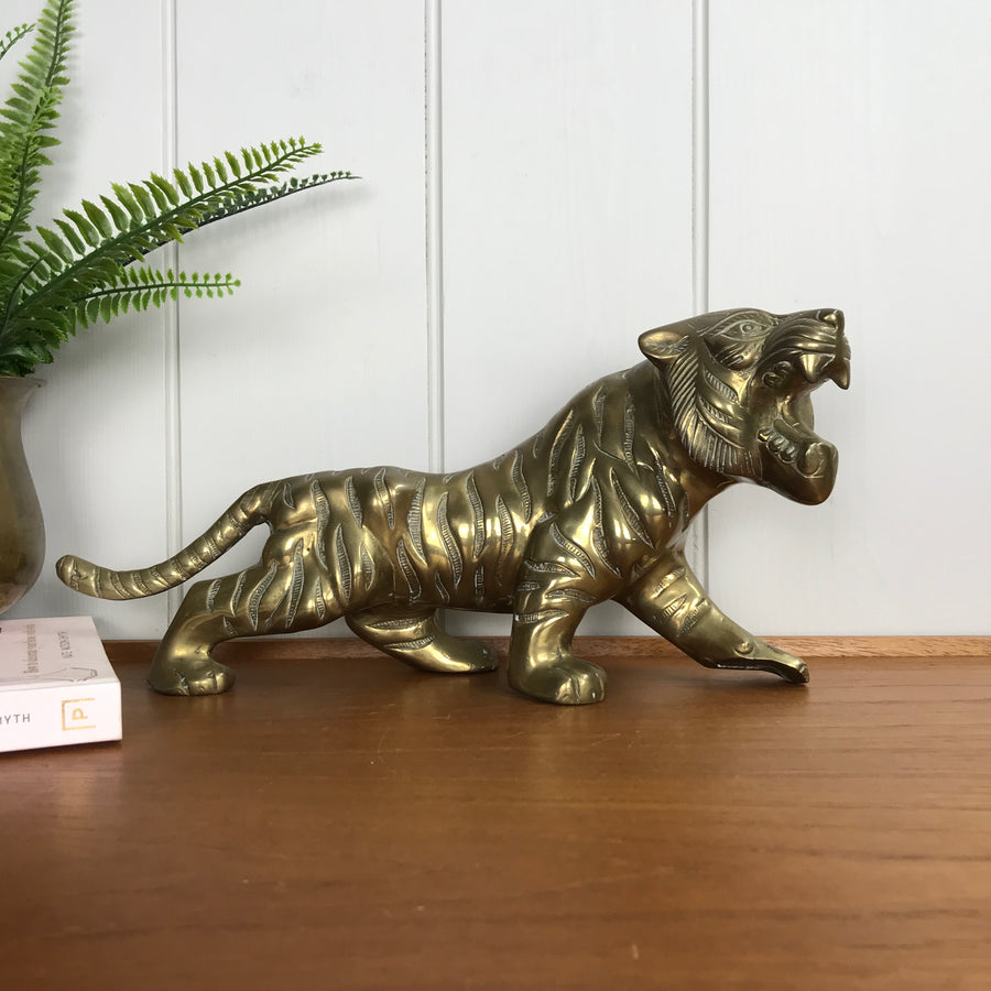 Large Vintage Mid Century Brass Tiger #A1