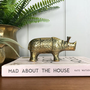 Mid Century Brass Rhino Ornament