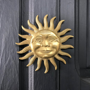 Vintage Brass Sun Wall Plaque