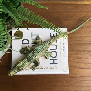 Large Mid Century Brass Crocodile
