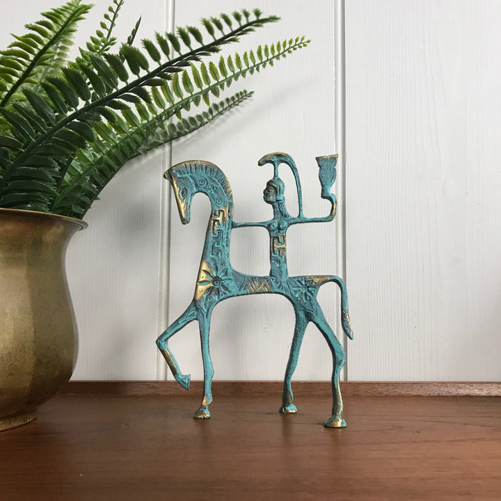 Mid Century Bronze 'Horse & Athena' Ornament #A1