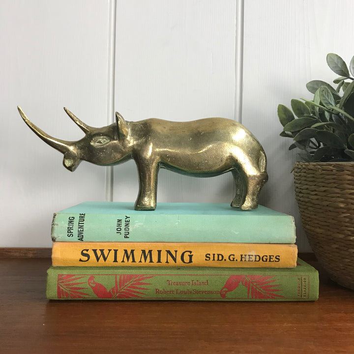 Vintage Brass Rhino Ornament