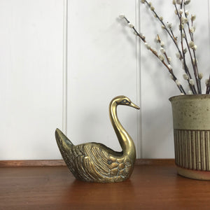 Vintage Brass Swan Planter #A1 - Medium