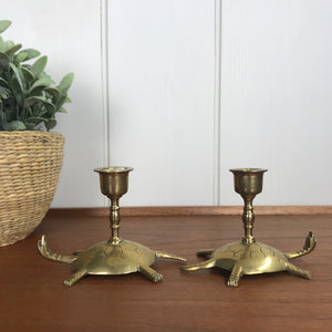 Vintage Brass Turtle Candlesticks (pair) #A1