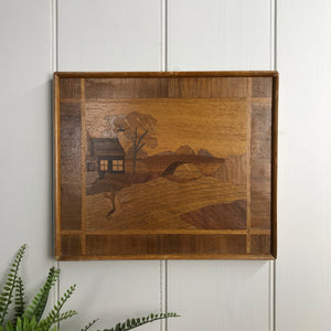 Mid Century Marquetry 'Landscape' Framed