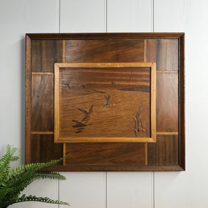 Mid Century Marquetry 'Flying Ducks' Framed
