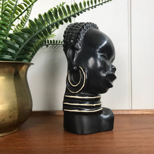 Vintage African Lady Ceramic Bust / Ornament