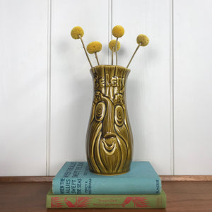 Vintage Green/Brown Celery Face Vase