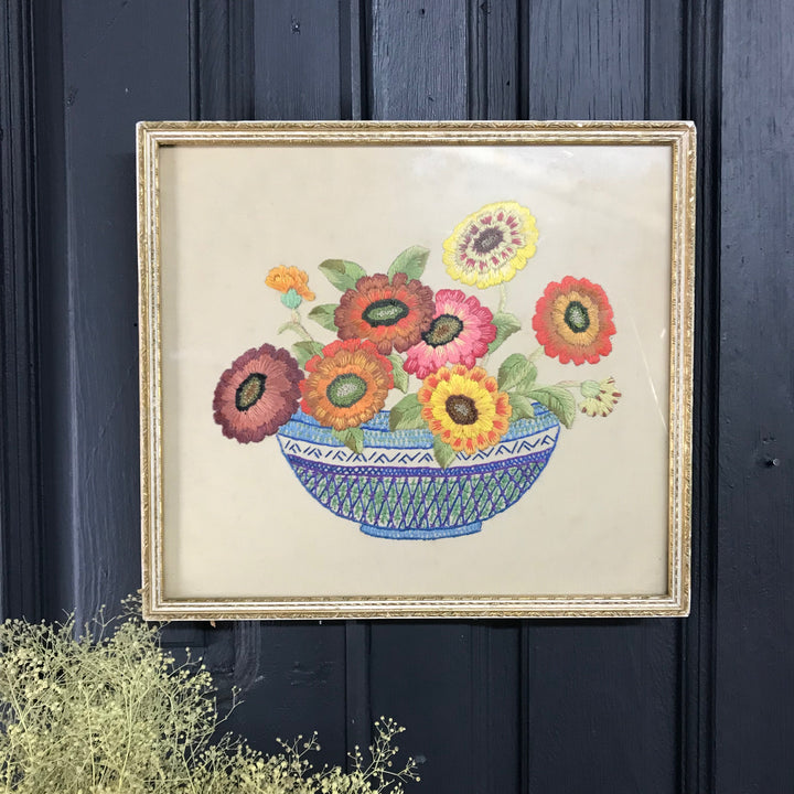 Mid Century Embroidery 'The Flower Bowl'