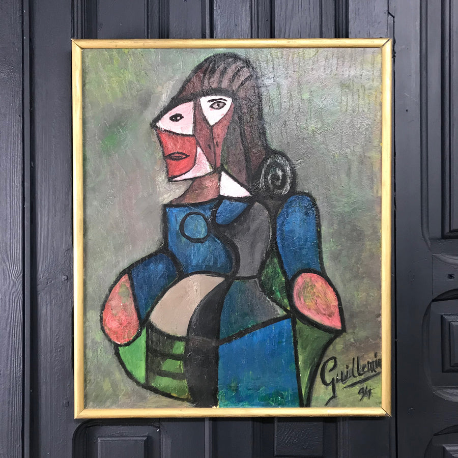 Framed Picasso Style Portrait in Oil