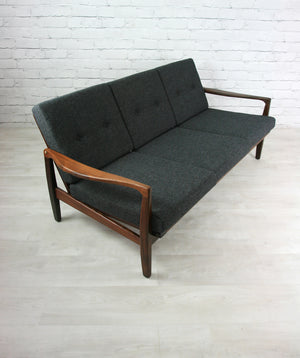 Vintage Afromosia framed three seater sofa