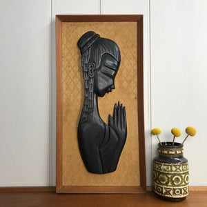 Mid Century 'Praying Lady' Teak Picture #A11