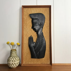 Mid Century 'Praying Man' Teak Picture #A11