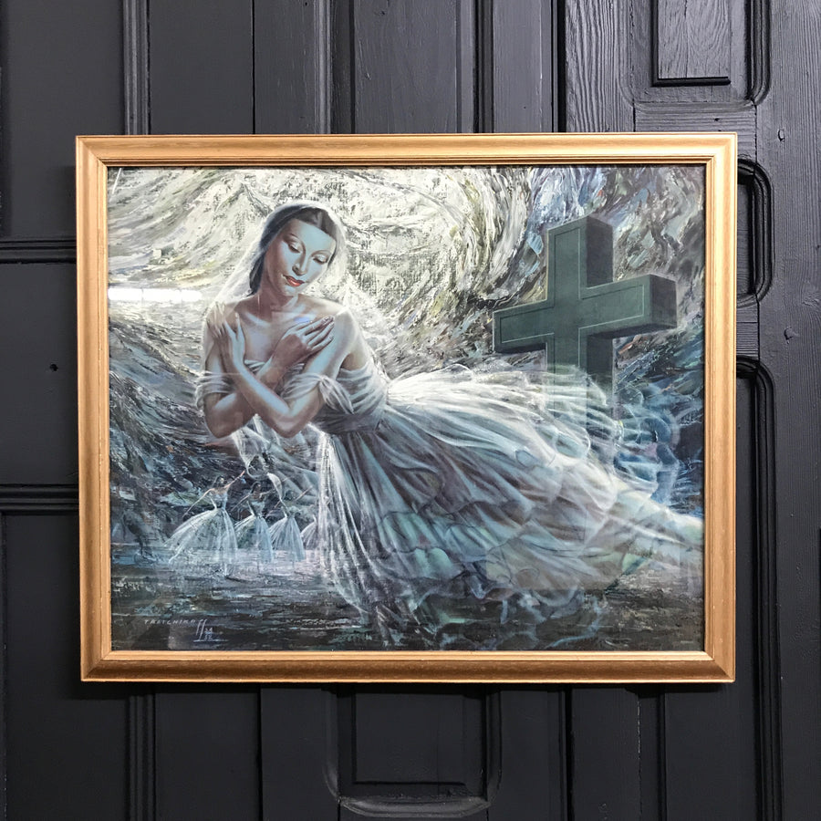 Mid Century Framed Print 'Alicia Markova as Giselle'