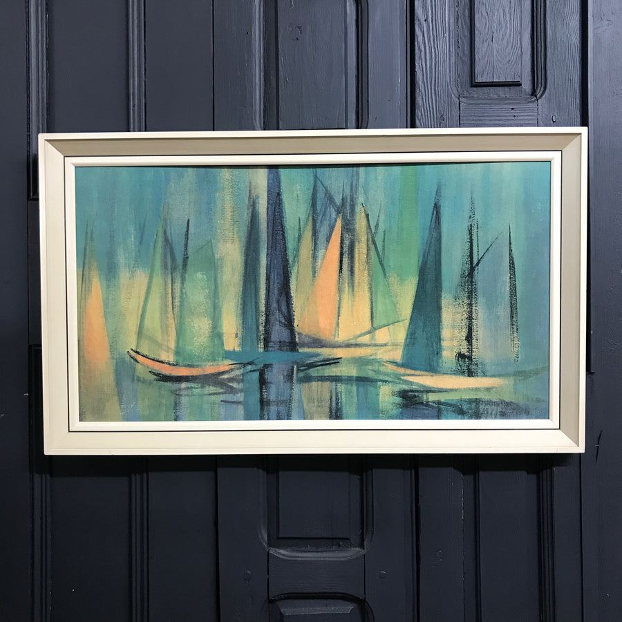 Mid Century Framed Print 'Sails at Daybreak'